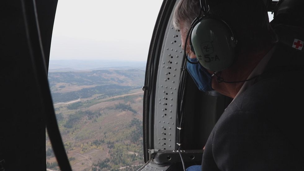 Idaho Gov. Brad Little toured the Badger Fire from a helicopter on Wednesday. Fire officials gave a presentation and answered questions.