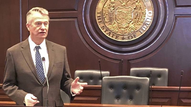 Idaho Gov. Brad Little responds to a reporter's question at the Statehouse in Boise, Idaho on...