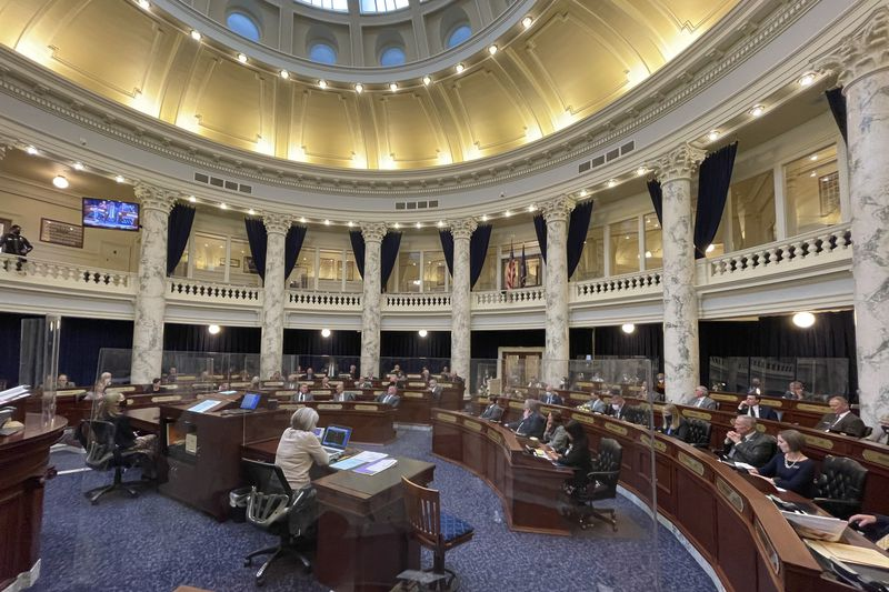 The Idaho House of Representatives debates a constitutional amendment in the Statehouse in...