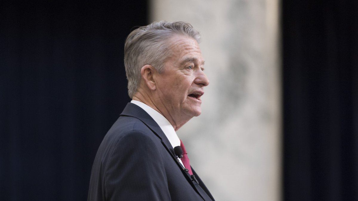 Idaho Gov. Brad Little delivers his State of the State address inside the house chambers at the...