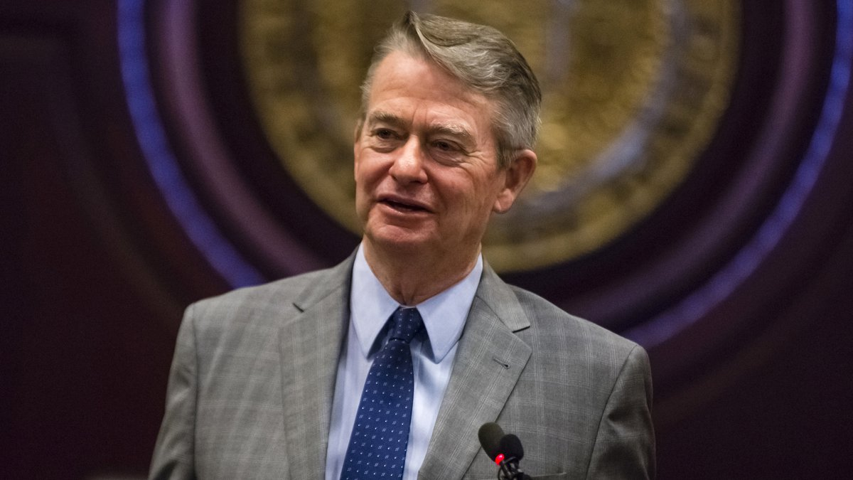 FILE - In this Jan. 3, 2019 photo, Idaho Gov.-elect Brad Little answers a reporter's question...