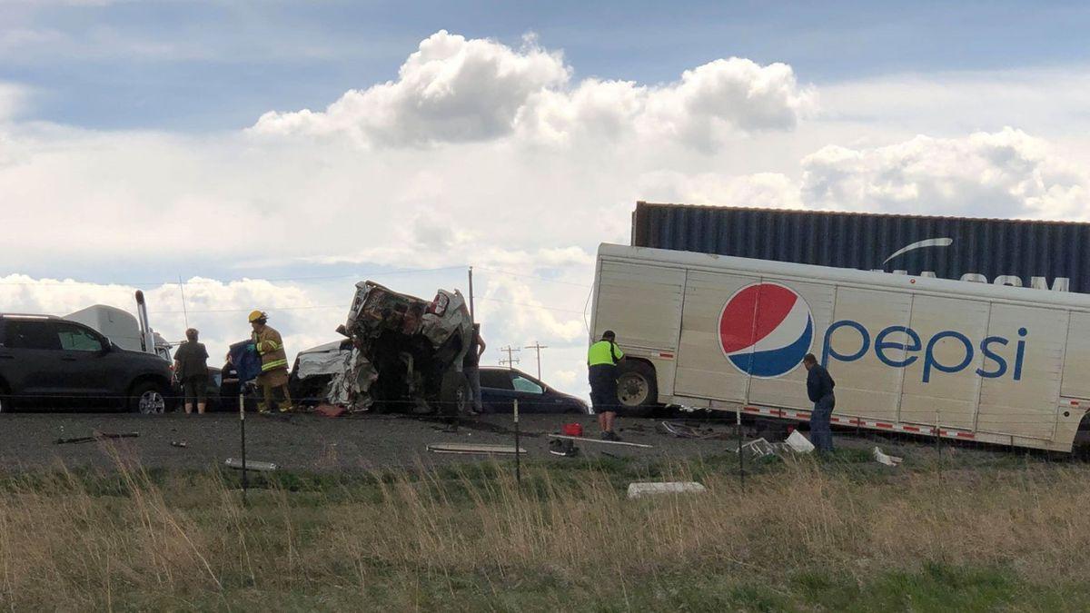 Image courtesy Spencer Uhl. Crash on Interstate 84 near Hazelton Tuesday afternoon blocks...