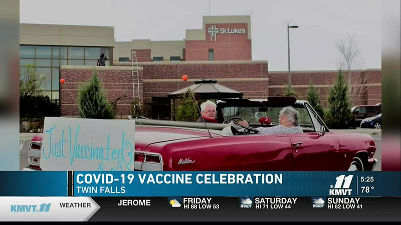 Gerald said it was only fitting to drive it to their COVID-19 vaccine appointment at St. Luke's...