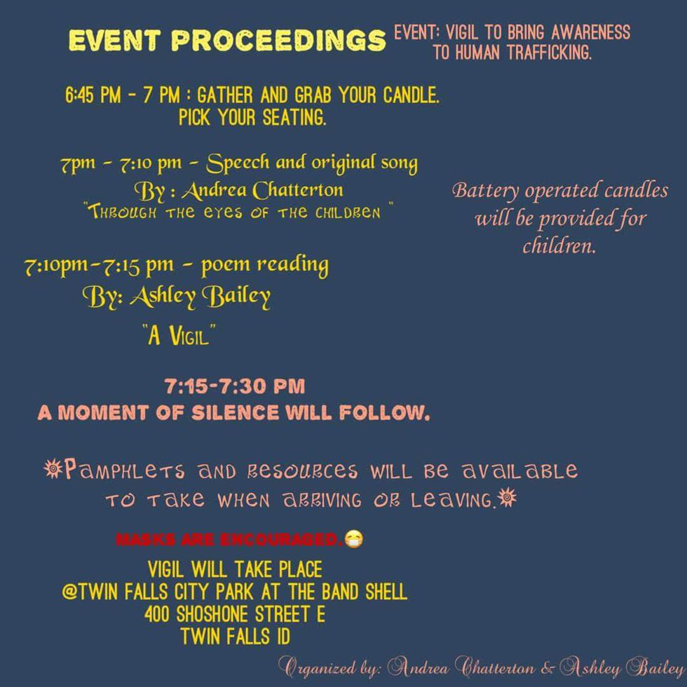 Schedule of event proceedings. Provided by Andrea Chatterton & Ashley Bailey