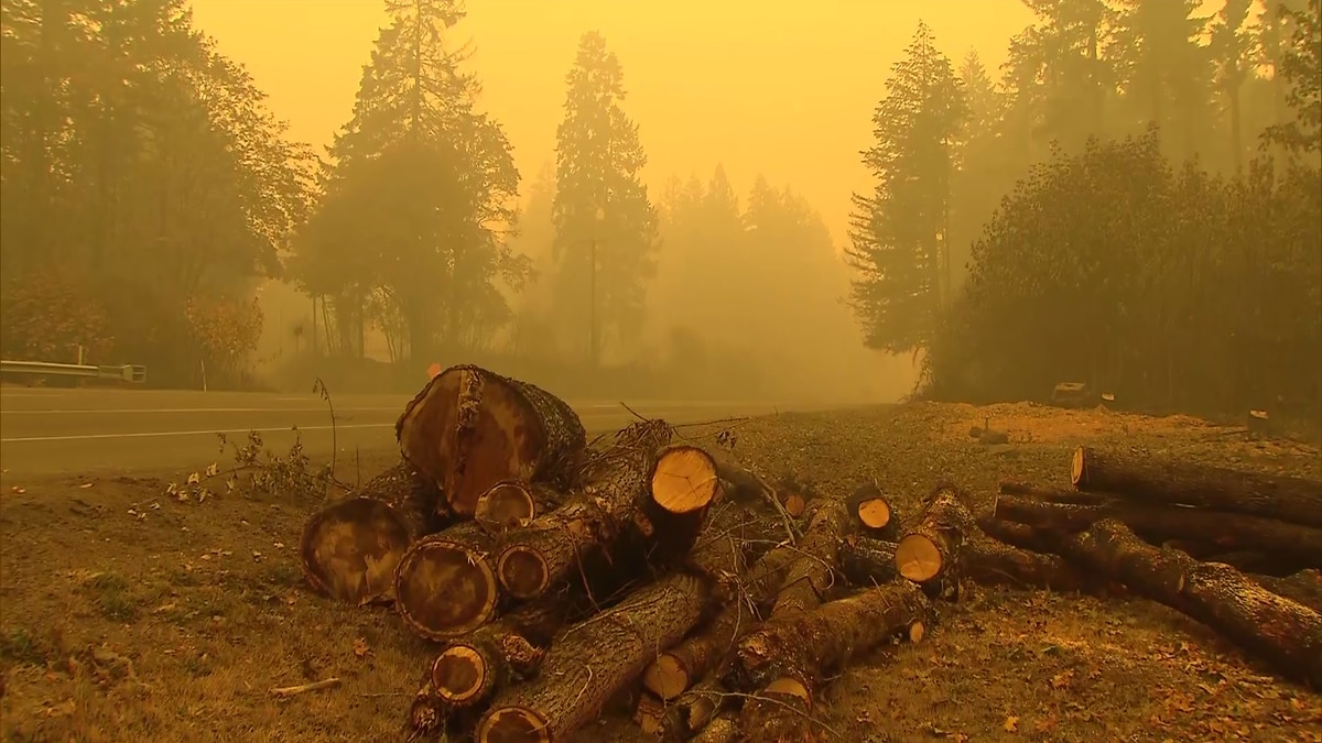 Dense smoke causes orange skies in Oregon.
