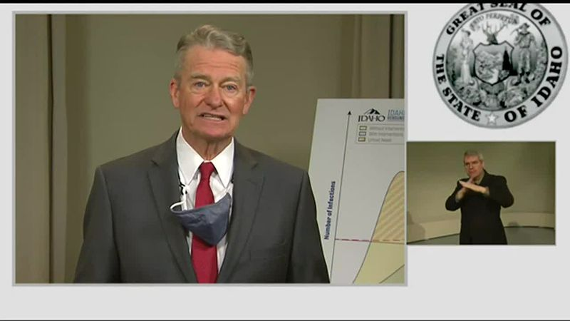 Gov. Brad Little addressed the state about the COVID-19 pandemics Thursday afternoon during a...