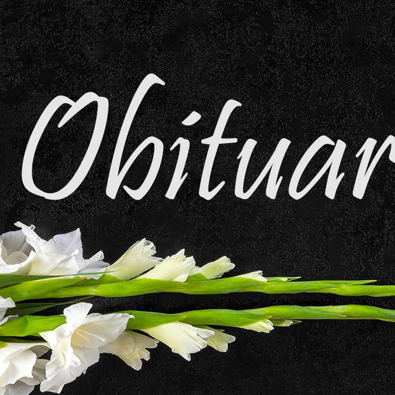 Gladioli flowers from above. Obituary or death notice concept.