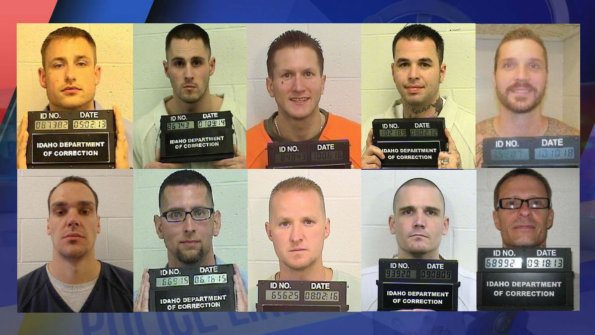 Images courtesy Idaho Department of Correction. Pictured left to right are inmates and former inmates Buck Pickens, Lucas Johnson, Christopher Foss, Nicholas Sites, Michael McNabb, Steven Bowman, James Ramsey, Jeremy Brown, Mark Woodland and Harlan Hale.