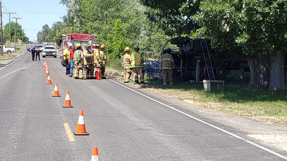 A truck carrying used oil rolled off a southern Twin Falls street Wednesday afternoon. The truck spilled more than 100 gallons of oil on the roadway.