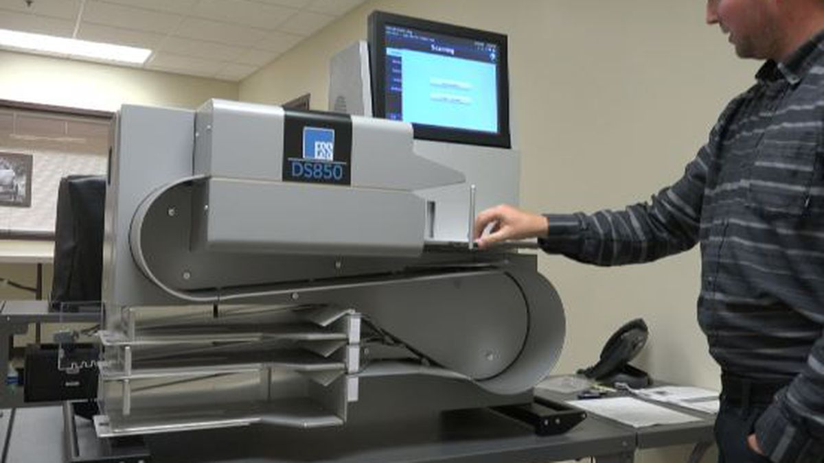 The Twin Falls County is required to test the ballot counting machines ahead of Tuesday's election. Photo date Aug. 26, 2019. (Source: Elizabeth Hadley/KMVT)