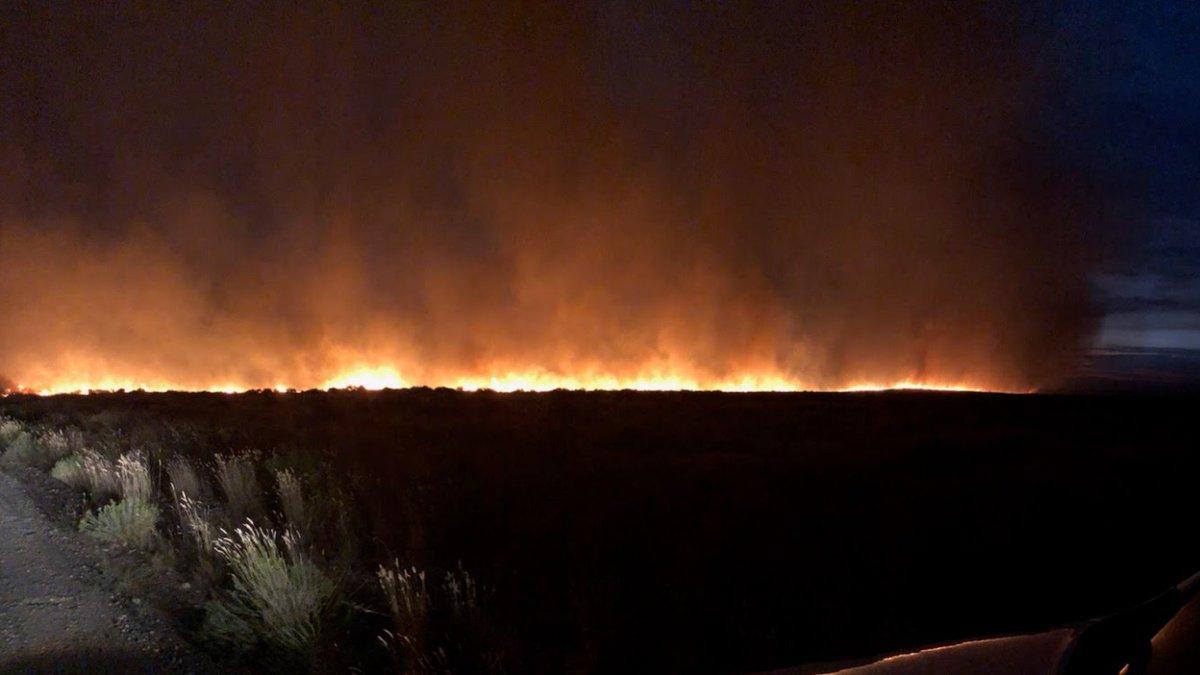 Image of Pot Hole Fire burning Tuesday night (Courtesy Bureau of Land...