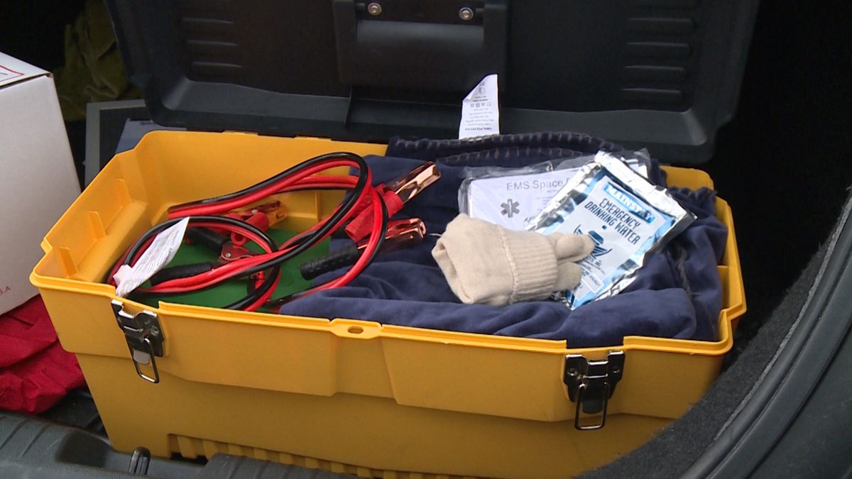 To keep safe in this weather, police suggest drivers carry a safety kit in the back of your car...