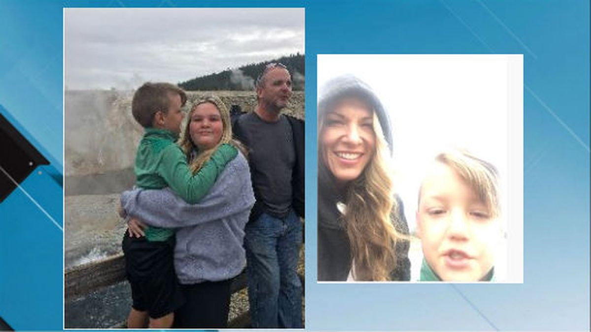 """These pictures show, left, Joshua """"J.J."""" Vallow, sister Tylee Ryan with uncle Alex Cox, and right, mother Lori Vallow with son J.J. Vallow in Yellowstone National Park on Sept. 8, 2019 (Source: FBI)"""