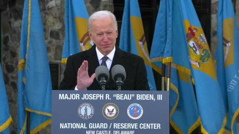 Biden and incoming first lady Dr. Jill Biden attended a send-off event in Delaware before...