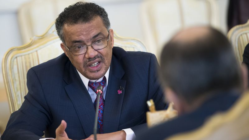 FILE - Then-Ethiopian Foreign Minister Tedros Adhanom Ghebreyesus, left, speaks to Russian...
