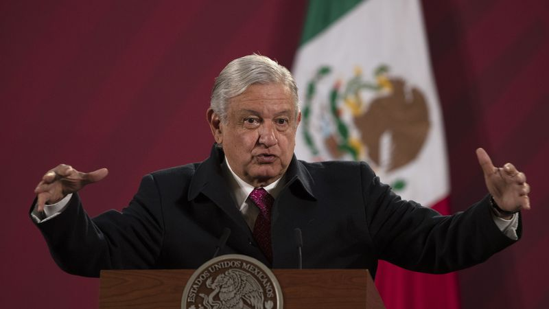 In this Dec. 18, 2020 file photo, Mexican President Andres Manuel Lopez Obrador gives his...