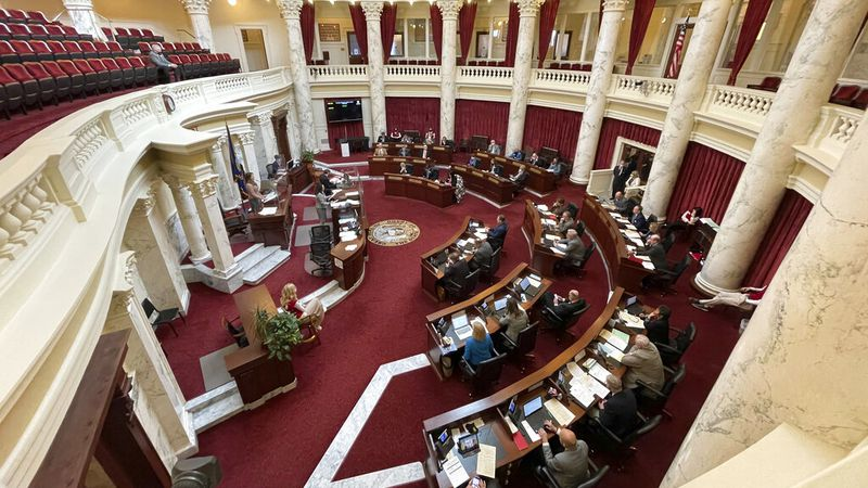 FILE - In this file photo taken on Feb. 18, 2021, showing the Idaho Senate meets in the...