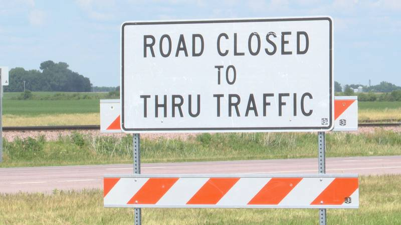 A road closed sign is pictured Thursday, July 1, 2021, in Mankato, Minn.