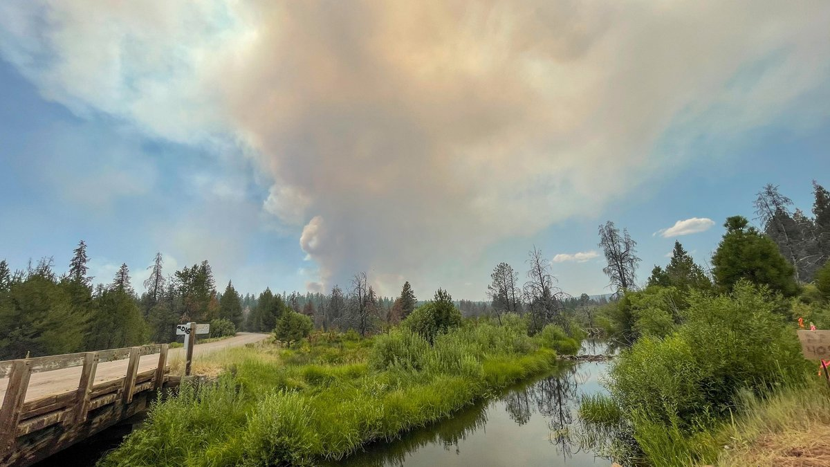 In this photo provided by the Bootleg Fire Incident Command, the Bootleg Fire burns in the...