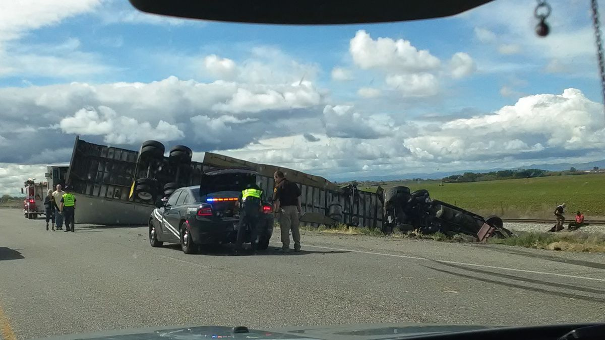 Image of a semi-truck that rolled Monday afternoon on Interstate 84 east of Wendell. Image courtesy Terrisa Haycock.