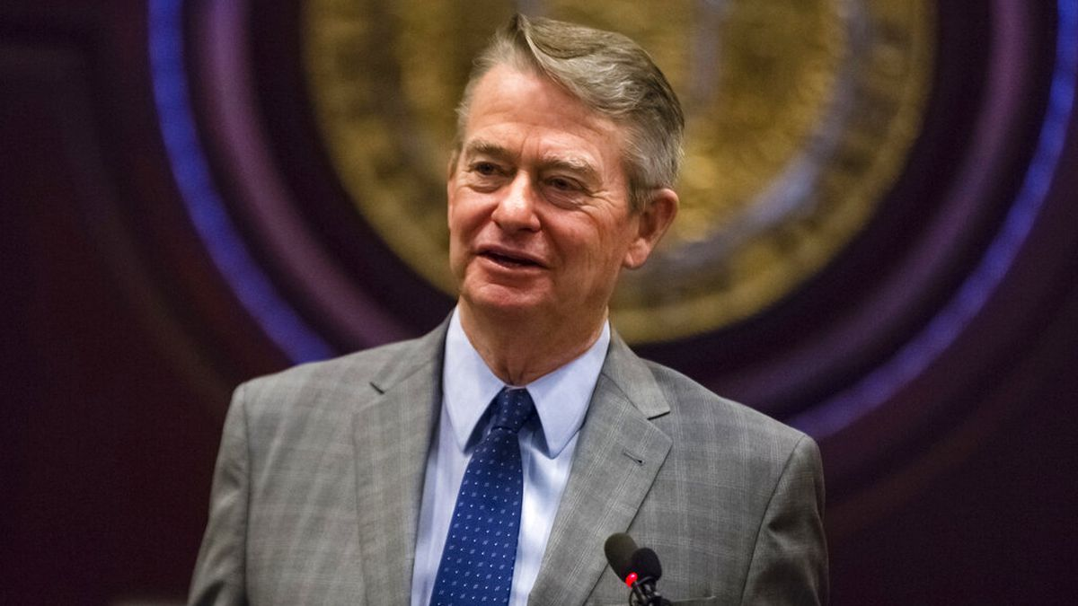 FILE - In this Jan. 3, 2019 photo, Idaho Gov.-elect Brad Little answers a reporter's question at the State Capitol building in Boise, Idaho. (AP Photo/Otto Kitsinger, File)