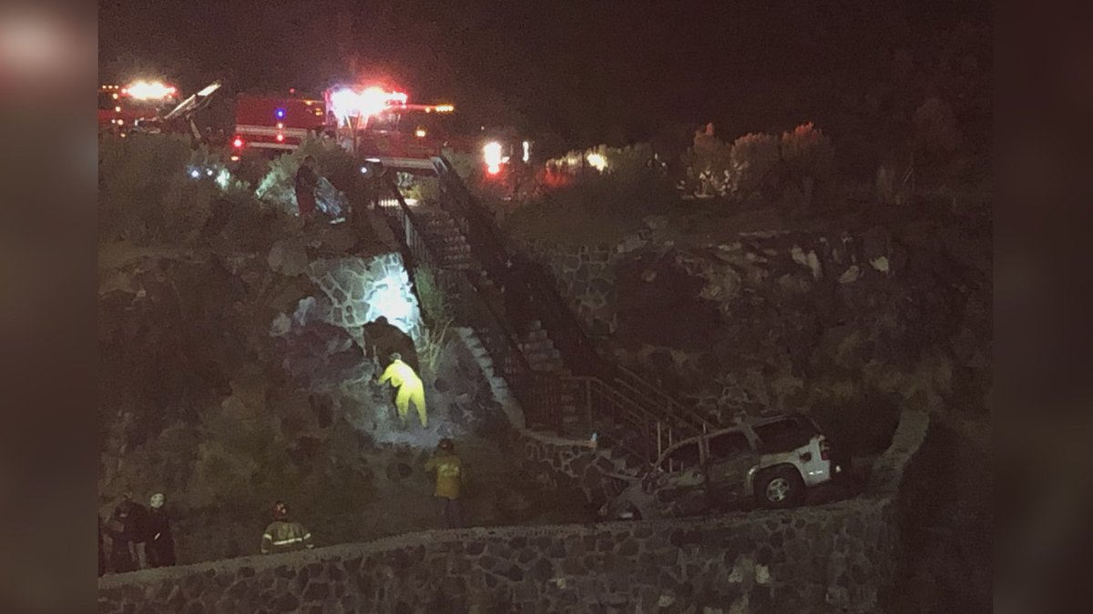 Crews responded to a car on fire north of the Perrine Bridge Sunday evening