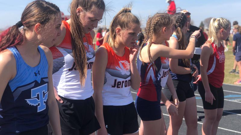 Girls line up for the 800 meter run. Twin Falls' Jenna Bingham won the event Friday at Minico...