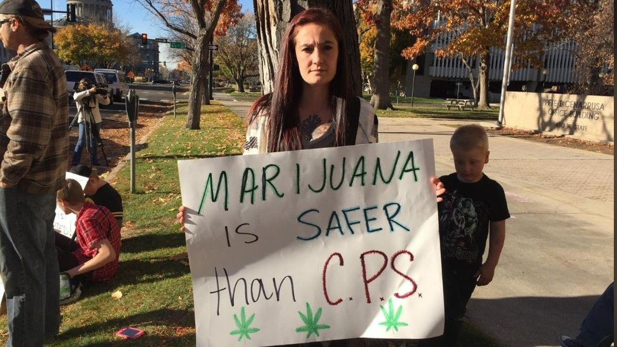 Kelsey Osborne and the Idaho Mom's for Marijuana group rallied outside of the...