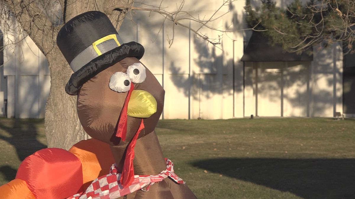 An inflatable turkey sits outside KMVT's station during the 2018 60 Hours to Fight Hunger turkey drive. This year's even runs Thursday through Saturday in KMVT's parking lot. A second location is at Con Paulos Chevrolet in Jerome (Source: KMVT).