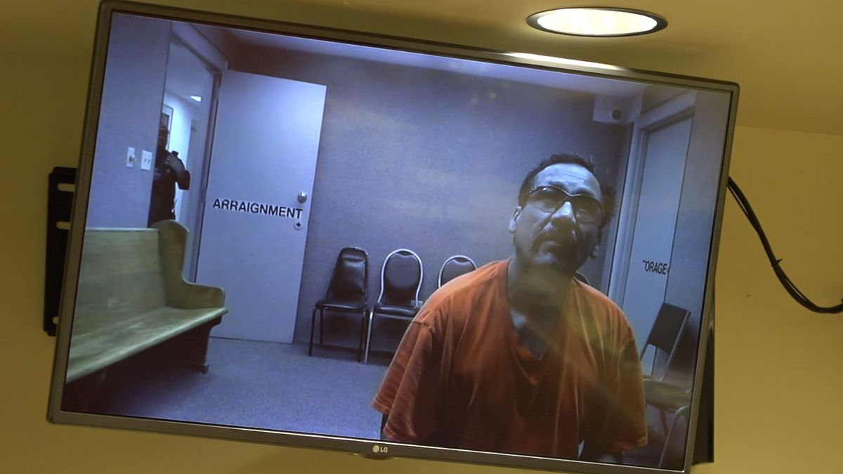 KMVT image of Gilberto Flores Rodriguez during his first appearance in court on a first degree murder charge, Feb. 21, 2019.
