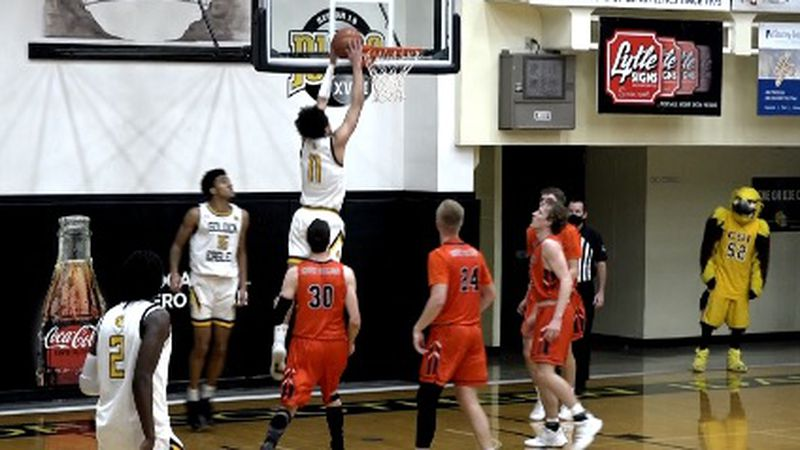 CSI's Stevie Smith goes for the dunk. He had 17 points in the game.