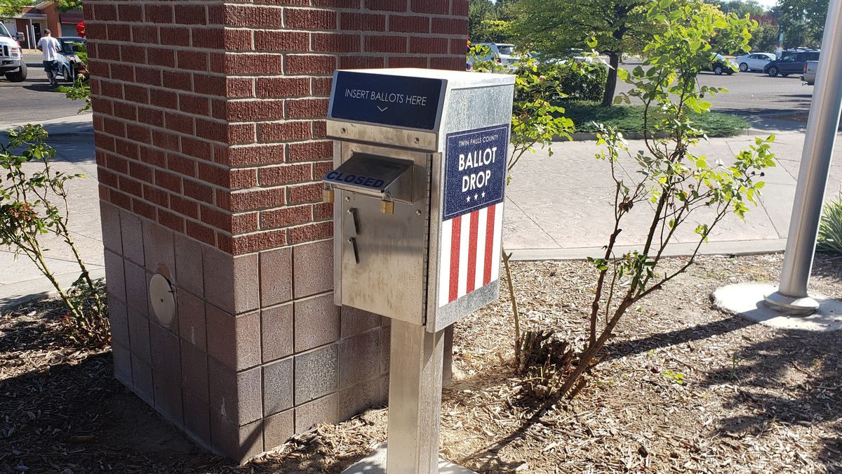 The ballot drop box for Twin Falls County outside the County West building
