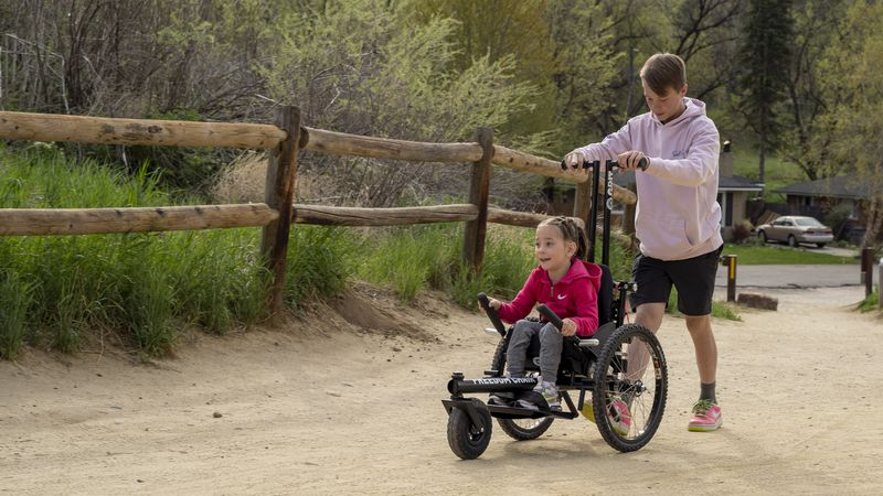 The Challenged Athletes Foundation surprised a Twin Falls girl with a GRIT Junior wheelchair to...