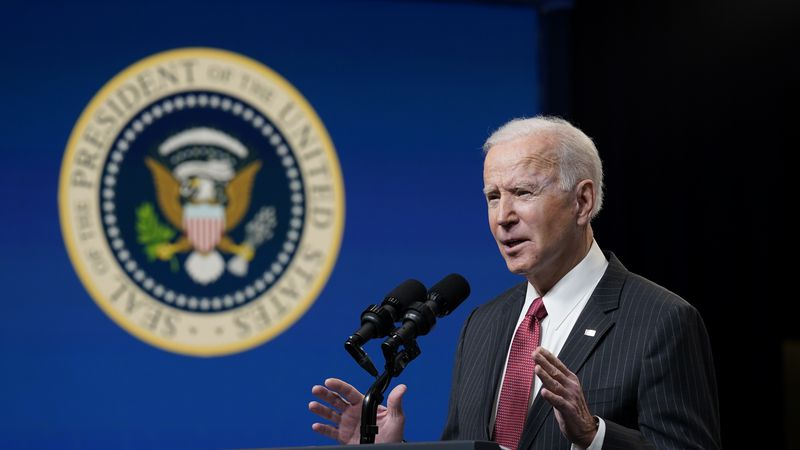 President Joe Biden speaks in the South Court Auditorium on the White House complex, Wednesday,...