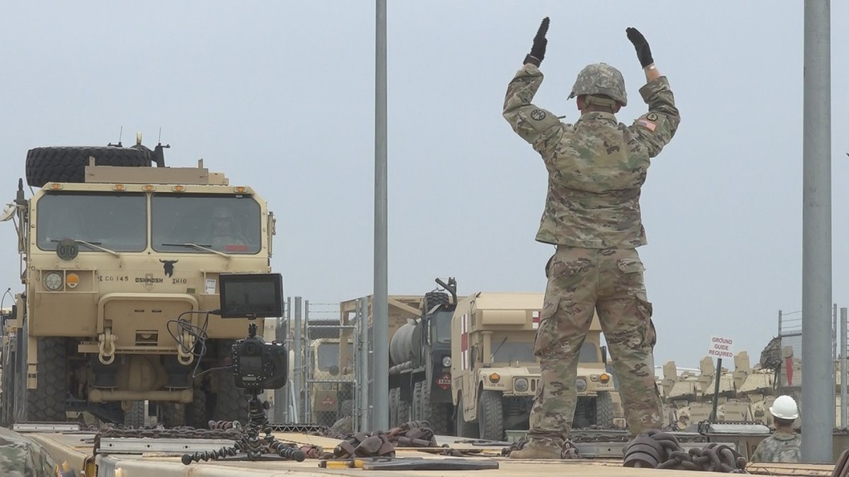 Idaho Army National Guard begins loading equipment for a 29-day training at Fort Irwin,...