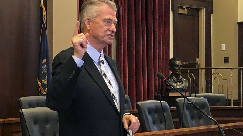 Idaho Republican Gov. Brad Little speaks at the Statehouse in Boise, Idaho on Thursday, July 9,...