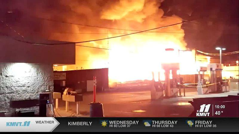 Building burns in Hailey