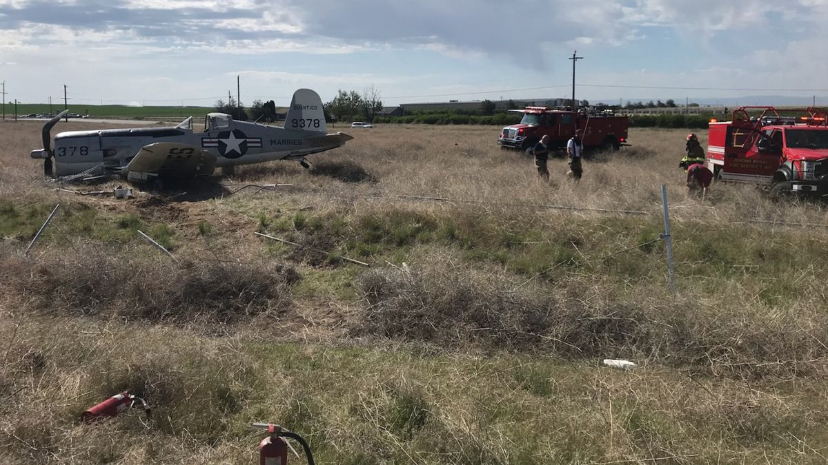An airplane came to rest Tuesday morning at the end of the runway Jerome County Airport. Image by KMVT's Garrett Hottle.