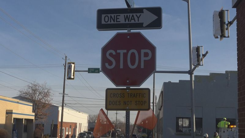 Traffic lights removed on intersection in downtown Twin Falls. Intersection between Second...