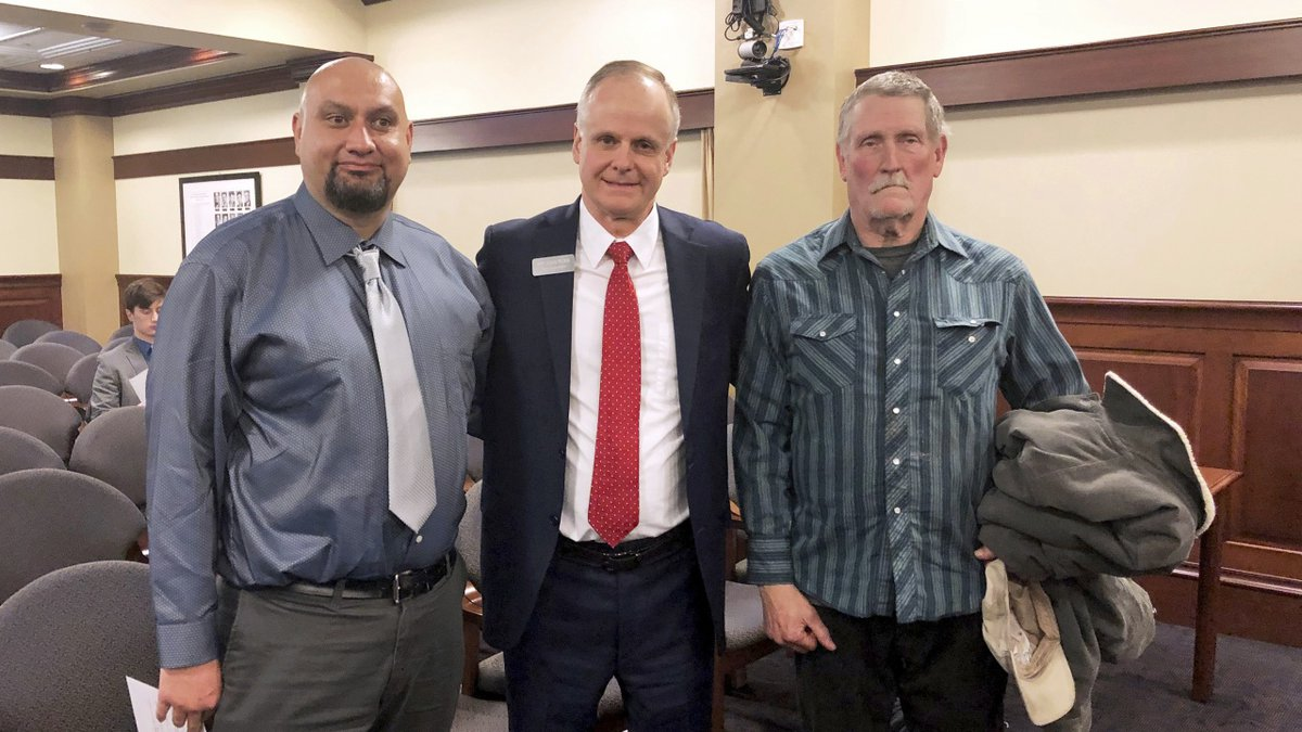 Christopher Tapp, from left, Republican Rep. Doug Ricks and Charles Fain appeared before the...