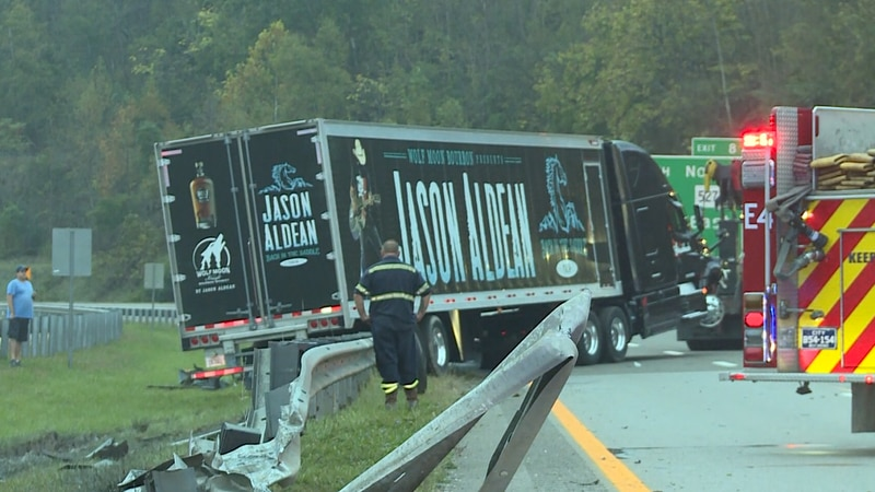 A tractor-trailer carrying country singer Jason Aldean's touring equipment crashed on the...
