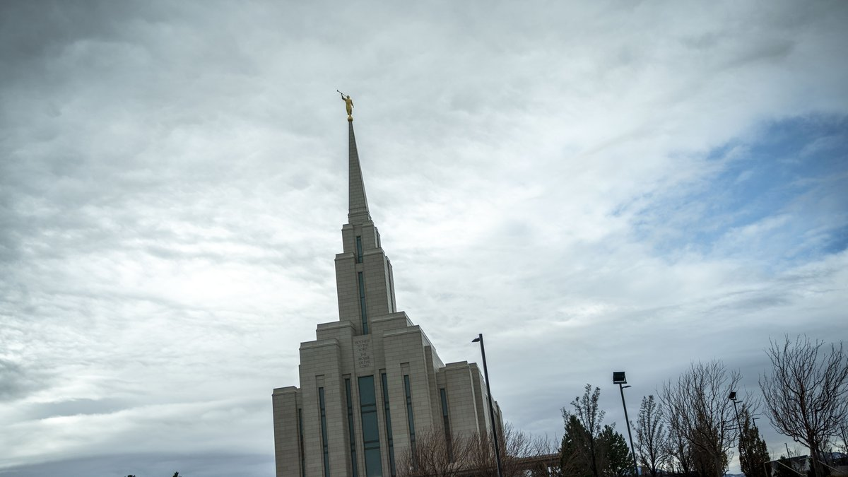 The Moroni statue on top of the Oquirrh Mountain Temple of the Church of Jesus Christ of...