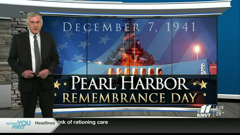 Flags are flown at half staff on Monday in honor of Pearl Harbor Remembrance Day.