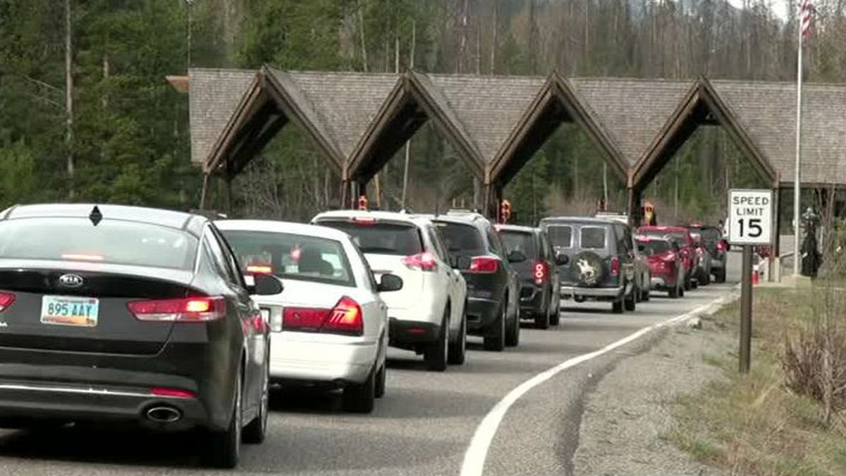 KMVT image by Penny Preston of cars lined up to go into Yellowstone National Park in July 2016.