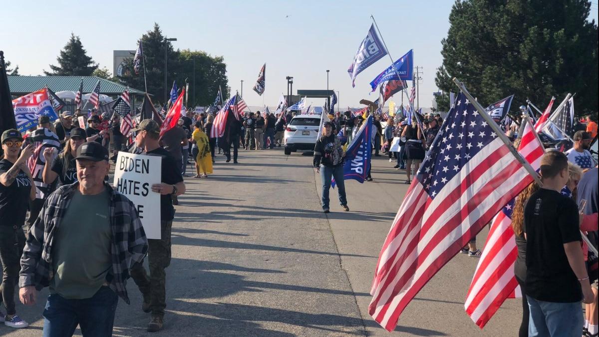 Protestors arrive for President Biden's Boise visit (CBS2)