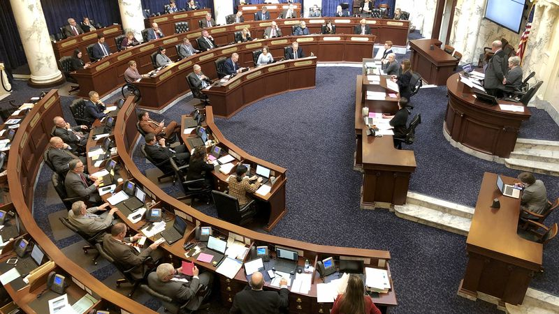FILE - In this Feb. 27, 2020, file photo, Idaho House of Representatives debates legislation in...