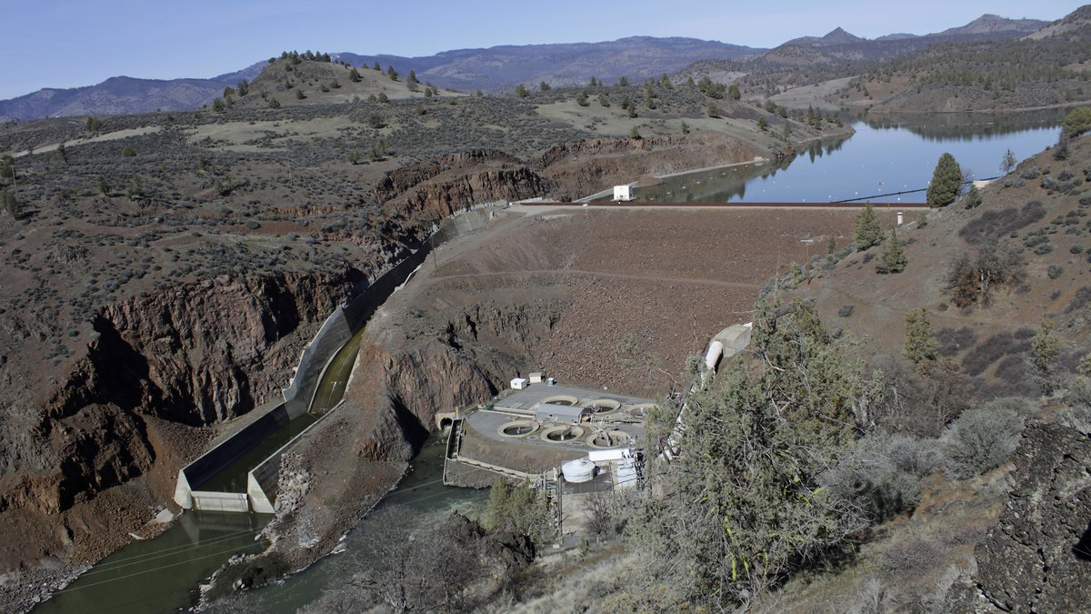 FILE - In this March 3, 2020, file photo, is the Iron Gate Dam, powerhouse and spillway are on...