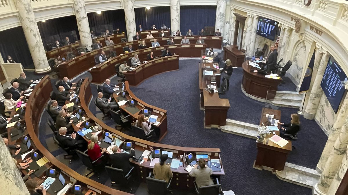 House members meet in the Statehouse, in Boise, Idaho, on Tuesday, March 9, 2021. The House...