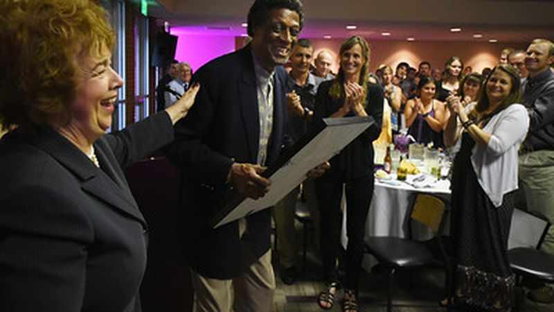 Elgin Baylor celebrates his Hall of Fame status at the College of Idaho on June 2, 2017.