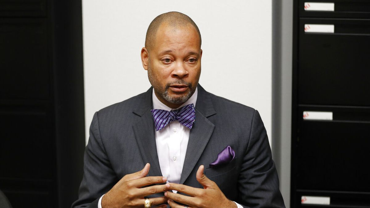 FILE - In this Dec. 14, 2018, file photo, Nevada's incoming Attorney General Aaron Ford speaks...
